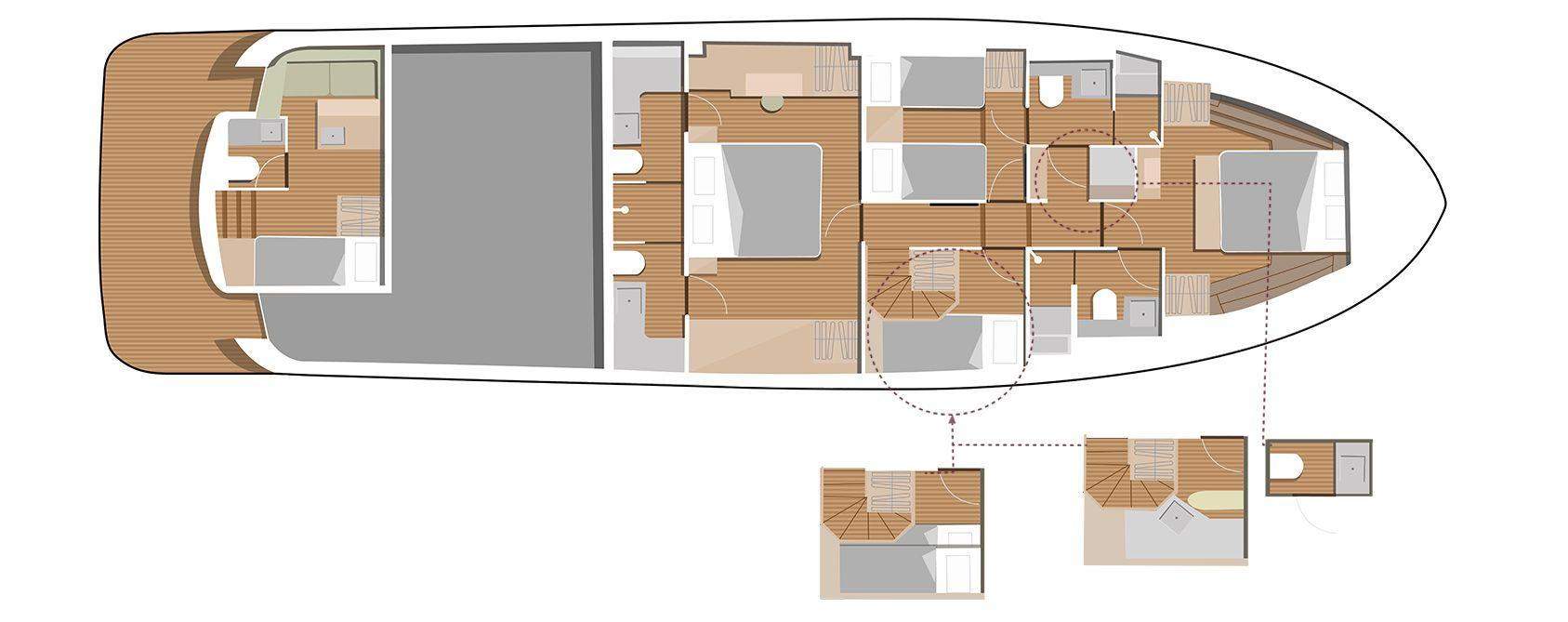 Sirena Yacht 68 layout